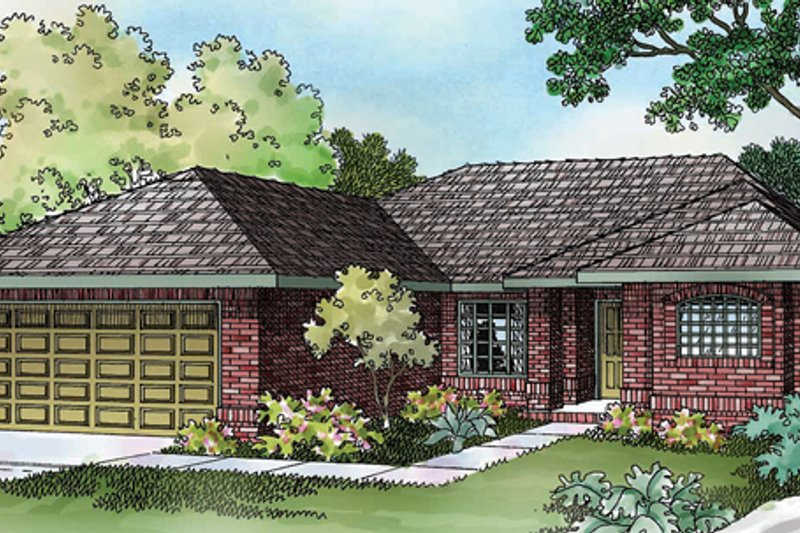 Traditional Style House Plan - 3 Beds 2 Baths 1349 Sq/Ft Plan #124-256 Exterior - Front Elevation
