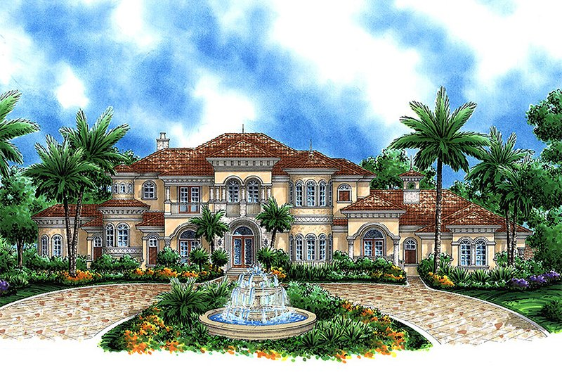 Mediterranean Style House Plan - 4 Beds 7 Baths 10662 Sq/Ft Plan #27-473 Exterior - Front Elevation