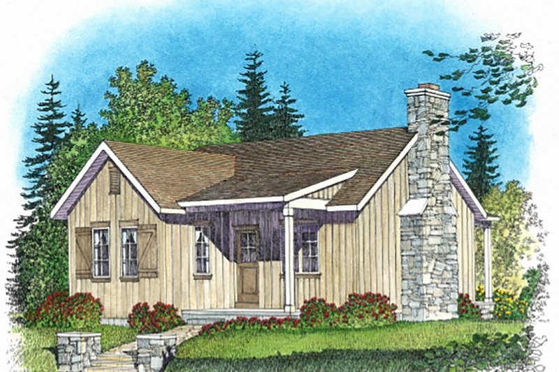 Cottage Style House Plan - 1 Beds 1 Baths 740 Sq/Ft Plan #22-572 Exterior - Front Elevation