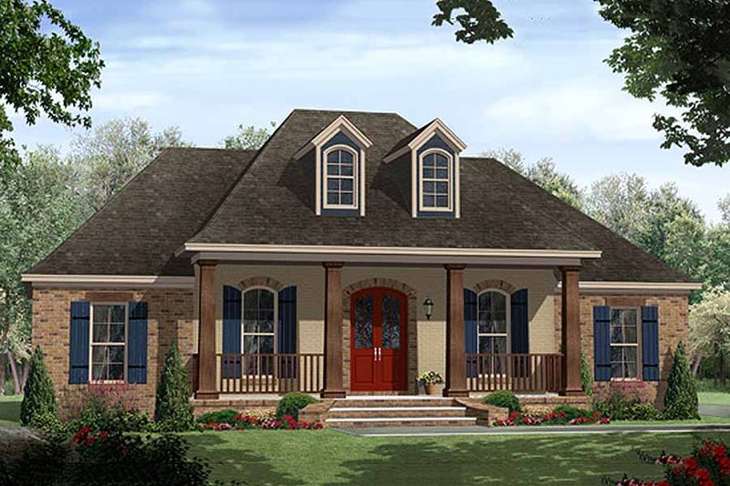European Style House Plan - 3 Beds 2 Baths 1641 Sq/Ft Plan #21-339 Exterior - Front Elevation