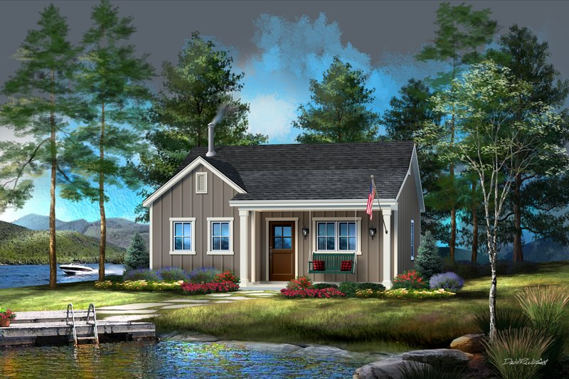 Cabin Style House Plan - 1 Beds 1 Baths 747 Sq/Ft Plan #22-618
