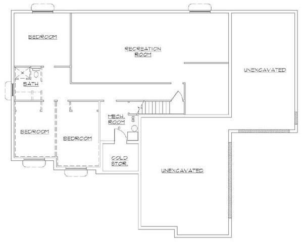 Ranch Floor Plan - Lower Floor Plan Plan #5-239