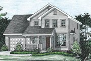 Traditional Style House Plan - 3 Beds 2.5 Baths 1490 Sq/Ft Plan #20-1252 Exterior - Front Elevation