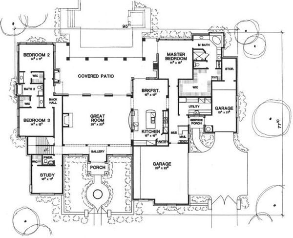 Mediterranean Floor Plan - Main Floor Plan Plan #472-4