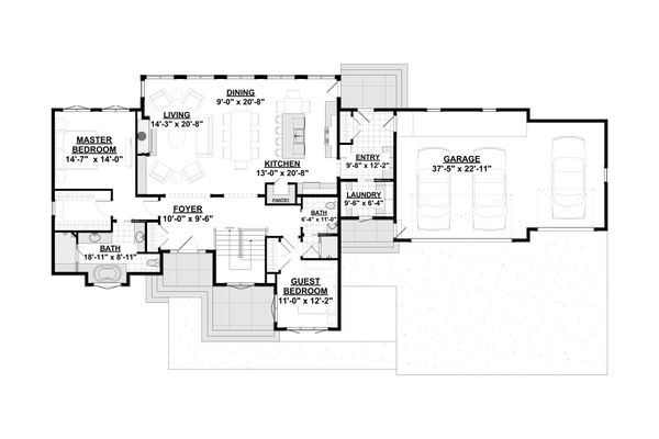 House Plan Design - Modern Floor Plan - Main Floor Plan #928-346
