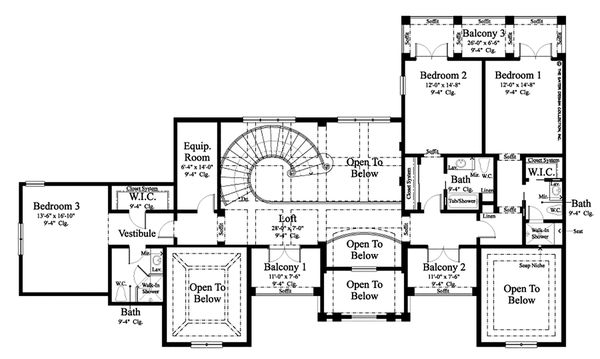 Contemporary Floor Plan - Upper Floor Plan #930-512
