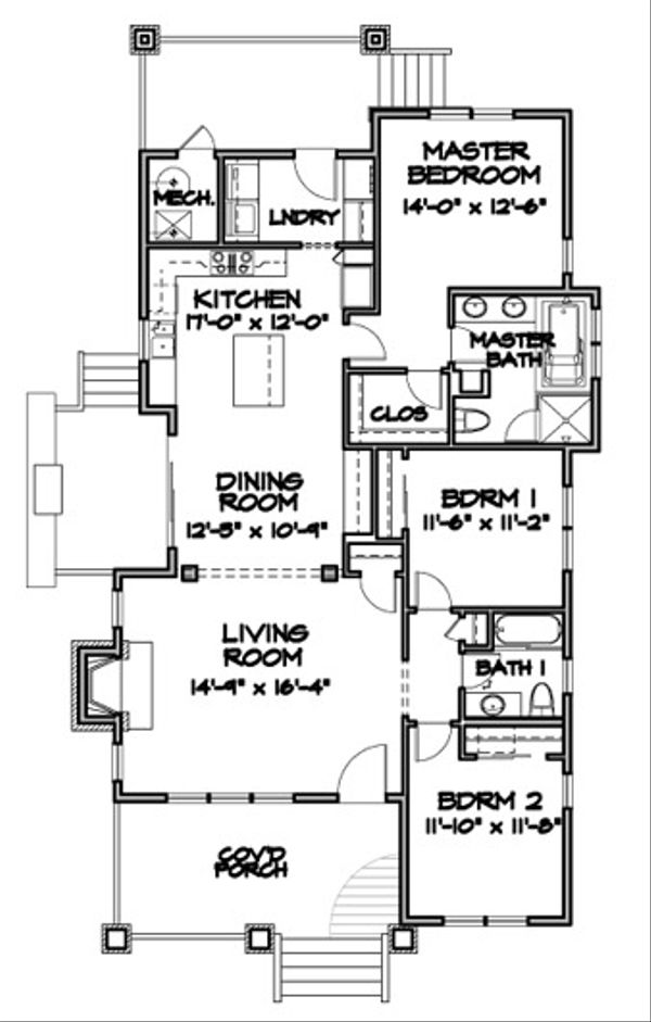 Bungalow Floor Plan - Main Floor Plan Plan #490-26