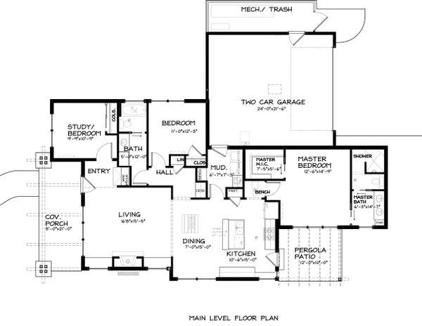 Craftsman Floor Plan - Main Floor Plan Plan #895-34