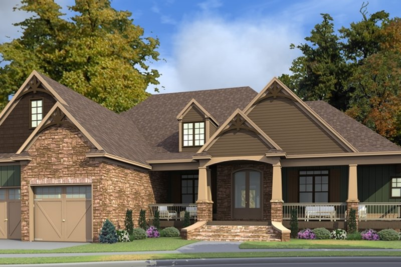 Craftsman Style House Plan - 5 Beds 2 Baths 5835 Sq/Ft Plan #63-422 Exterior - Front Elevation