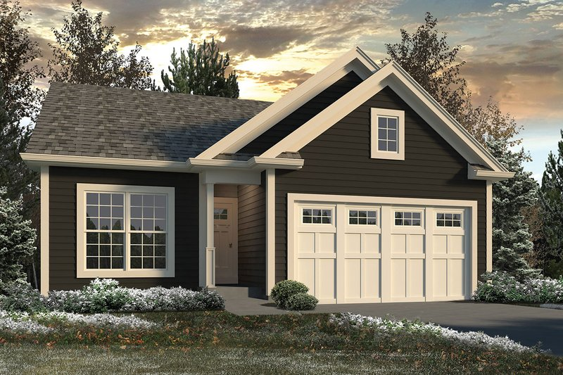 Ranch Style House Plan - 2 Beds 2 Baths 1433 Sq/Ft Plan #57-646 Exterior - Front Elevation