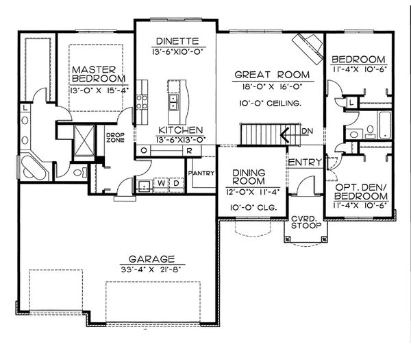 European Floor Plan - Main Floor Plan Plan #20-2151
