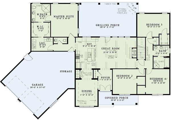 Country Floor Plan - Main Floor Plan Plan #17-2555