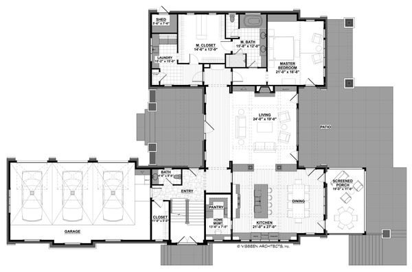 Craftsman Floor Plan - Main Floor Plan #928-305