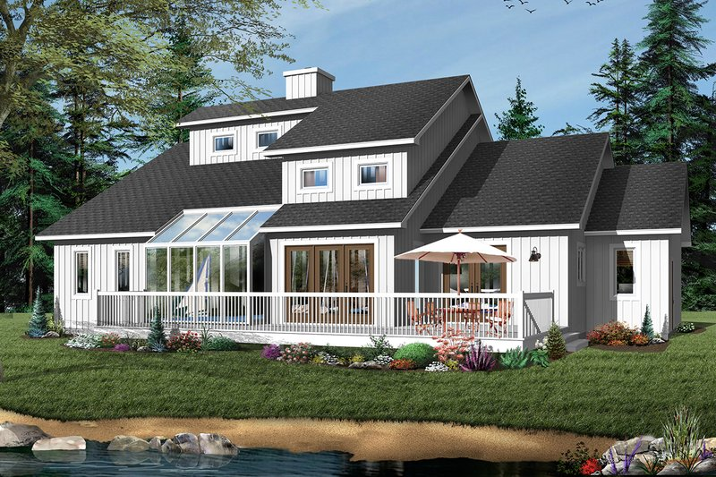 Contemporary Exterior - Rear Elevation Plan #23-338