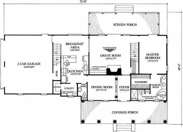 Southern Floor Plan - Main Floor Plan Plan #137-123