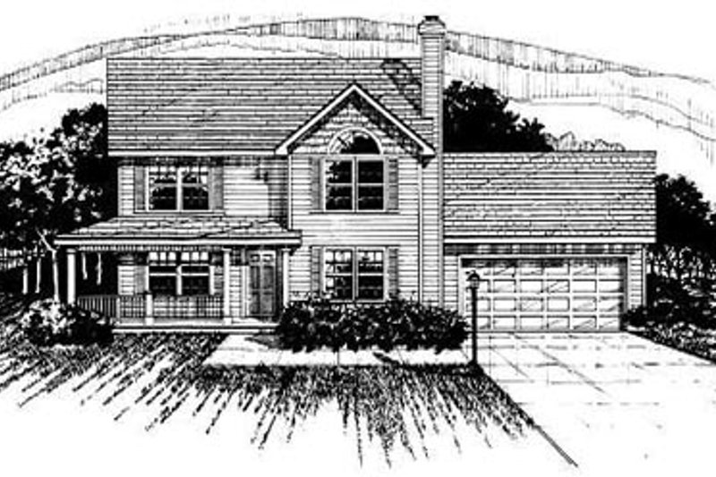 Traditional Style House Plan - 4 Beds 2.5 Baths 1681 Sq/Ft Plan #50-230 Exterior - Front Elevation