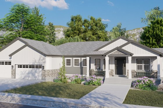 Ranch Exterior - Front Elevation Plan #1060-99