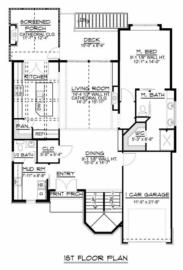 Craftsman Floor Plan - Main Floor Plan Plan #1064-13