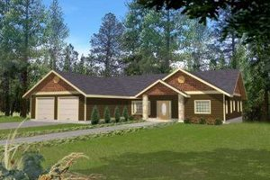 Ranch Exterior - Front Elevation Plan #117-491