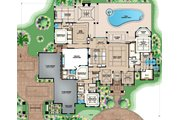 Mediterranean Style House Plan - 4 Beds 4.5 Baths 4403 Sq/Ft Plan #27-545 Floor Plan - Main Floor