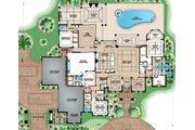 Mediterranean Style House Plan - 4 Beds 4.5 Baths 4403 Sq/Ft Plan #27-545 Floor Plan - Main Floor Plan