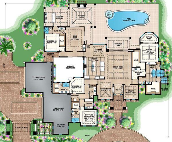 Mediterranean Floor Plan - Main Floor Plan #27-545