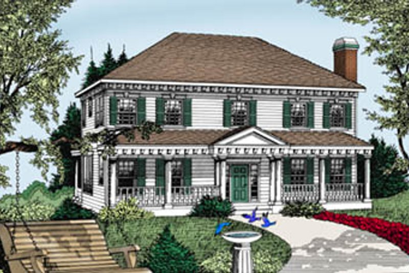 Colonial Style House Plan - 4 Beds 3.5 Baths 3240 Sq/Ft Plan #101-206 Exterior - Front Elevation