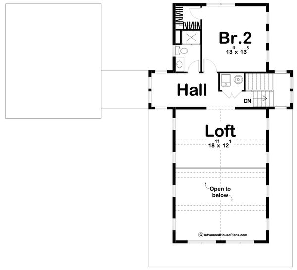 Farmhouse Floor Plan - Upper Floor Plan Plan #455-208