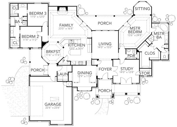 Traditional Floor Plan - Main Floor Plan Plan #80-169