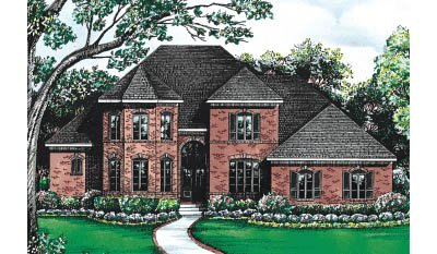European Exterior - Front Elevation Plan #20-252