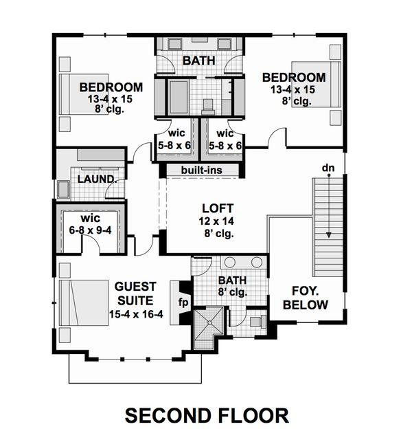 Contemporary Floor Plan - Upper Floor Plan #51-580