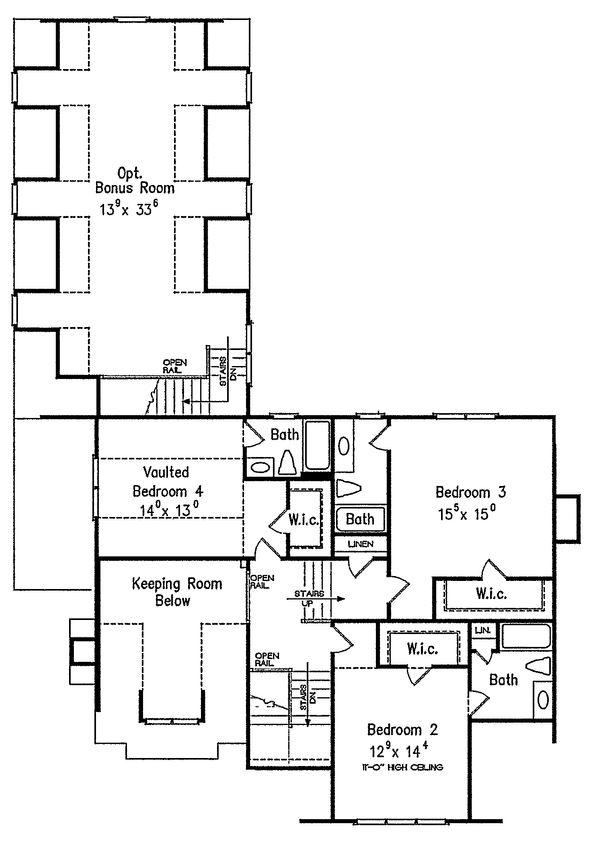 Craftsman Style House Plan - 4 Beds 5.5 Baths 3878 Sq/Ft Plan #927-5 Floor Plan - Upper Floor Plan