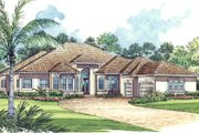 Mediterranean Style House Plan - 5 Beds 4.5 Baths 5131 Sq/Ft Plan #420-124 Exterior - Front Elevation