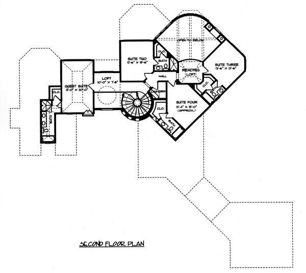 Mediterranean Floor Plan - Upper Floor Plan Plan #413-134