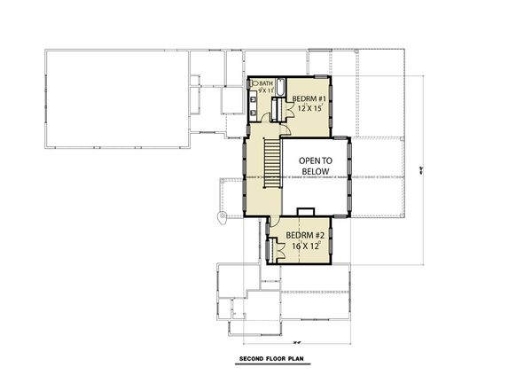 Contemporary Floor Plan - Upper Floor Plan Plan #1070-94