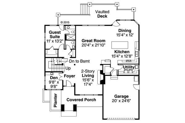 Mediterranean Floor Plan - Main Floor Plan Plan #124-1016