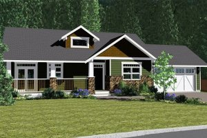 Architectural House Design - Craftsman Exterior - Front Elevation Plan #126-142