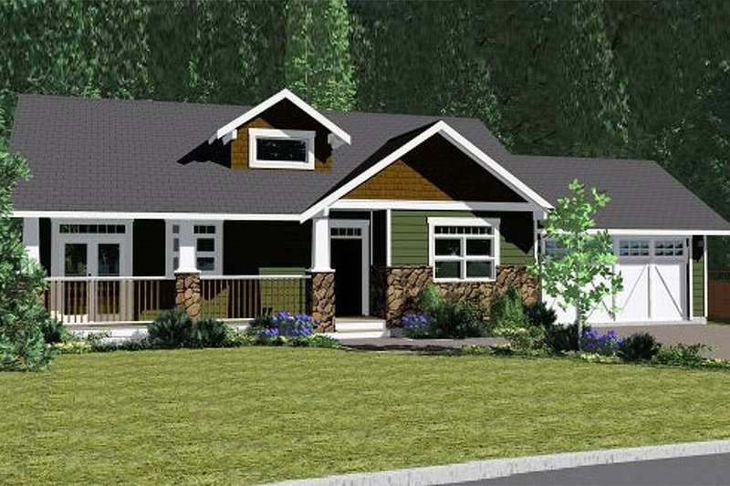 Craftsman Style House Plan - 2 Beds 2 Baths 1497 Sq/Ft Plan #126-142 Exterior - Front Elevation