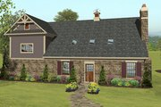 Craftsman Style House Plan - 2 Beds 1 Baths 1207 Sq/Ft Plan #56-617 Exterior - Rear Elevation