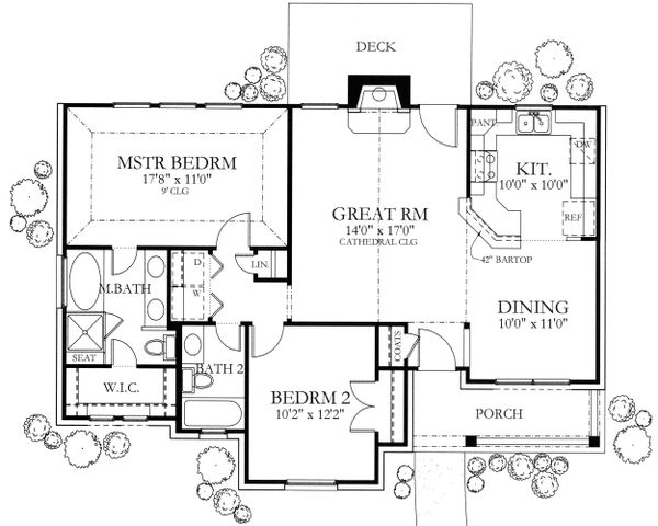 Ranch Floor Plan - Main Floor Plan Plan #80-101