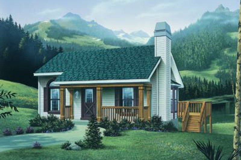 Cottage Style House Plan - 2 Beds 1 Baths 914 Sq/Ft Plan #57-167 Exterior - Front Elevation