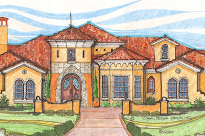 European Style House Plan - 6 Beds 6.5 Baths 5898 Sq/Ft Plan #135-152 Exterior - Front Elevation