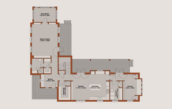 Farmhouse Style House Plan - 4 Beds 4 Baths 3465 Sq/Ft Plan #531-2 Floor Plan - Main Floor Plan