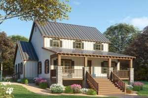 Dream House Plan - Farmhouse Exterior - Front Elevation Plan #923-91