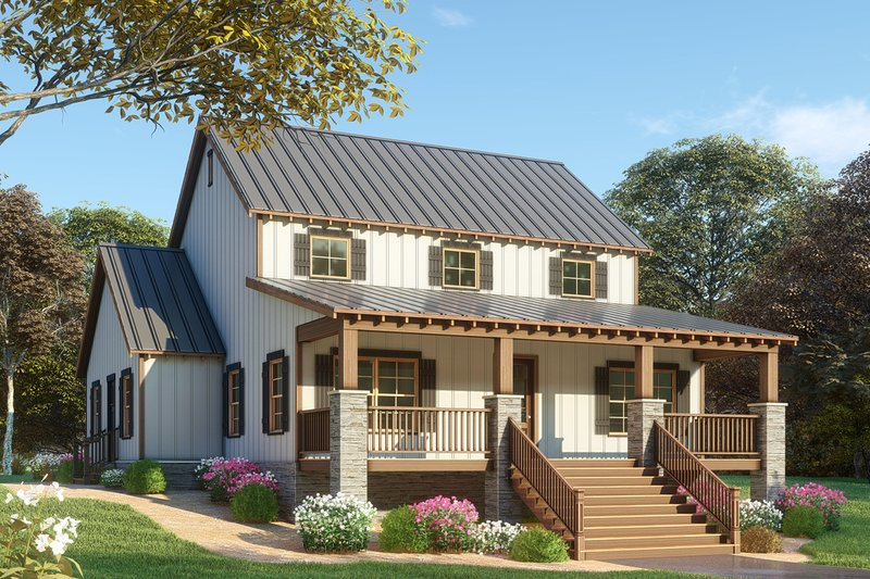 Farmhouse Exterior - Front Elevation Plan #923-91