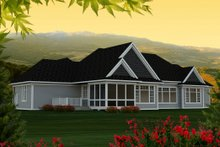 Dream House Plan - Ranch Exterior - Rear Elevation Plan #70-1176