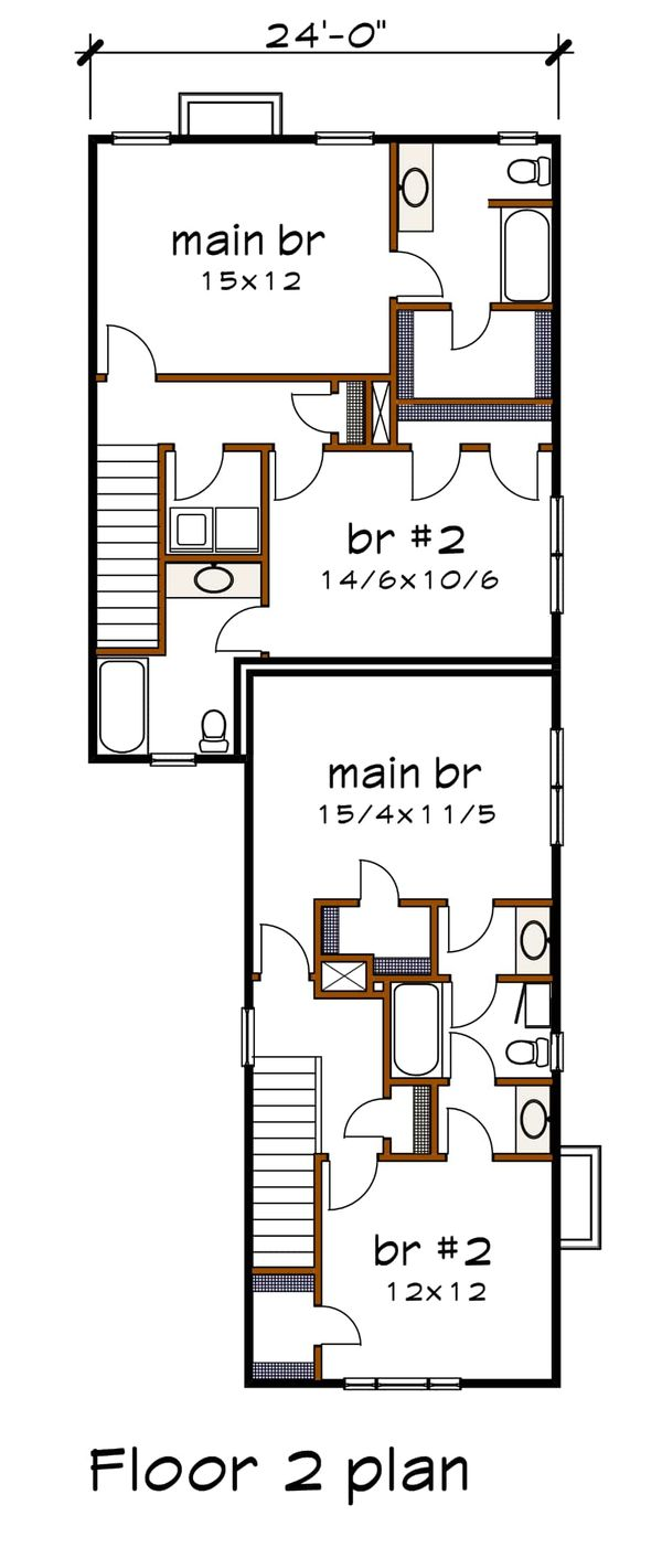Cottage Floor Plan - Upper Floor Plan #79-251