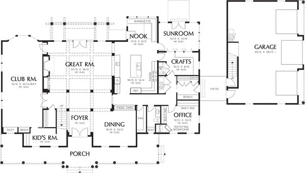 Colonial Floor Plan - Main Floor Plan Plan #48-663