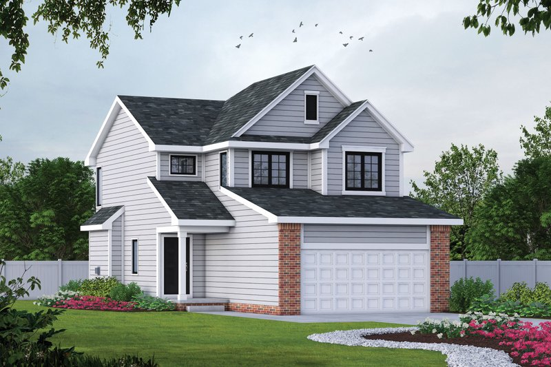 Traditional Style House Plan - 3 Beds 2.5 Baths 1550 Sq/Ft Plan #20-1512 Exterior - Front Elevation