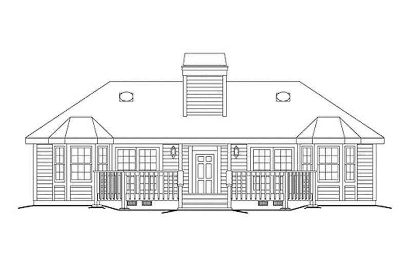 Country Exterior - Rear Elevation Plan #57-572 - Houseplans.com
